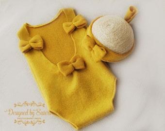 CHLOE stretch romper + tieback - baby girl photo prop - newborn prop - newborn mustard yellow romper - elegant newborn romper