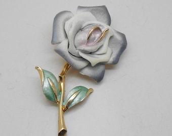 Vintage White Enamel Rose Brooch