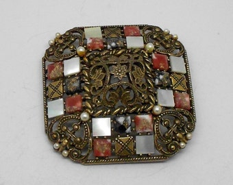 Vintage R.Mandle Geometric Brooch