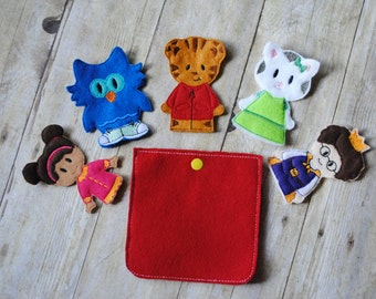 Daniel Tiger inspired finger puppets, set of 5 plus a case
