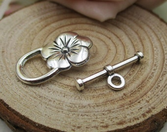 10 Sets Antique Silver OT Clasps,Flower Toggle Clasp-s1030