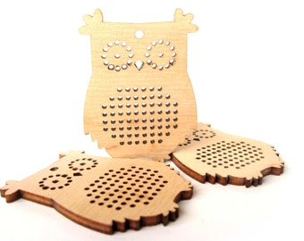 Cross Stitch Pendant, Owl, Cross Stitch Blank, Plywood Blank, Pendant, Earring, Brooch, Necklace, Laser Cut