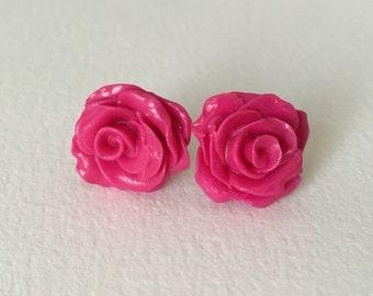 Pink Rose Stud Earrings ~ Made in Wales