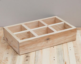 Medium Desk Tidy - Reclaimed wood storage solutions.