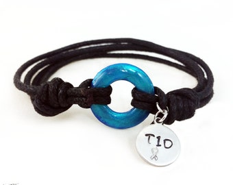 "Type 1 Diabetes Bracelet-Cotton-Type One Diabetic Jewelry-Universal T1D Symbol-Blue Circle Symb Type One Diabetes with 3/8"" T1D Stamped Tag"