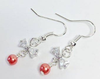 Coral Pearl Earrings Sparkly Bridal Earrings Pretty Bridesmaid Gift Dainty Cubic Zirconia Earrings Silver Bow Earrings Mother of the Bride