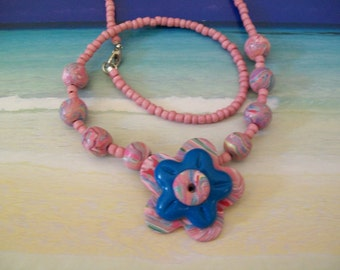 Beaded Necklace, Polymer Clay Necklace, Polymer Clay Pendant, Flower Pendant, Clay Beads, Handmade Necklace, Handmade Beads, Clay, Beads