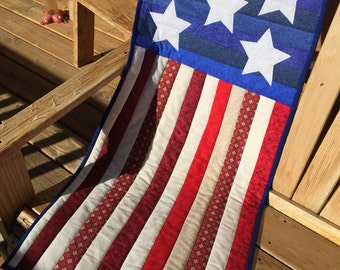 Patriotic Quilted Stars and Stripes Wall Hanging