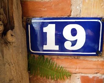 Enamel House Number 19 Door Number Blue White Number Metal Sign Nineteen 19 Vintage Industrial Decor USSR