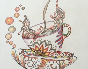 Zentangle coffee cup,coffee art,zentagle art,coffee cup art,wall art,kitchen art,colored zentangle,wall decor,zentangle,splashing coffee