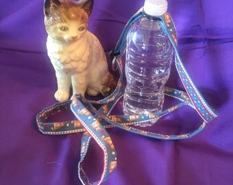 H2-O Water Bottle Carrier Strap Lanyard- Country Kitty
