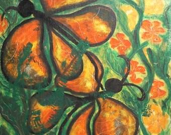 Vintage oil painting butterflies