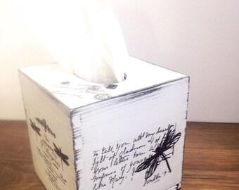 shabby chic tissue box cover/ kleenex box holder, white shabby chic, vintage dragonfly tissue box cover, white tissue box, dragonfly