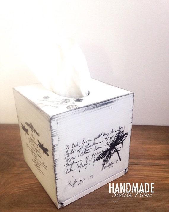 Shabby chic tissue box cover kleenex box holder white shabby for Tissu shabby chic