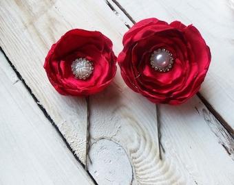 Red Wedding, Bridal Hair Accessories, Bridesmaid Hair Flowers - 2 Red