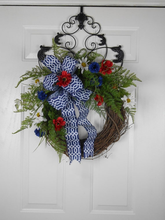 Red White And Blue Patriotic Wreath By Cottagehousewreaths On Etsy