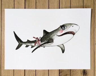 Giclée Print, Illustration of Tsundere Shark, A4 size
