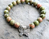 A Grade Unakite Bracelet, Feminine Yoga Mala Beads, Gift for Her, Heart Chakra, Metaphysical Healing Crystals, Love + Compassion + Kindness