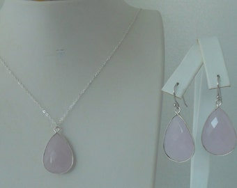 Pink Chalcedony Bezel Teardrop Pendant Earrings and Necklace