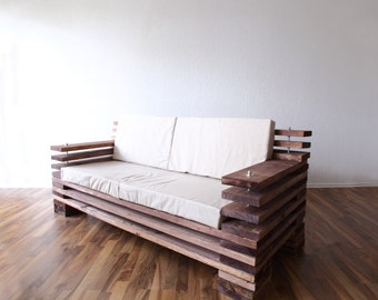 Designer sofa made of wood in your favorite colors