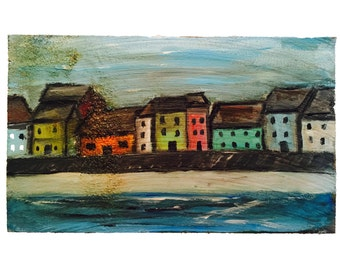 Original wood wall art, reclaimed wood, distressed  furniture, beach town,  woodscape mini, cottage chic art, small abstract art