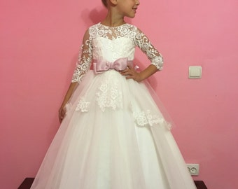 Ivory Flower Girl Dress - Wedding Holiday Party Bridesmaid Birthday Flower Girl Ivory Tulle Lace Dress 14-1065