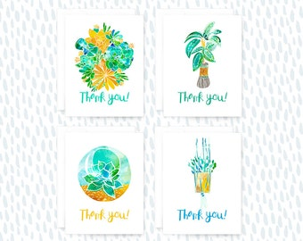 Thank You Card Set, Set of 8 Cards, Greeting Cards, House Plants, Succulents, Hanging Plants, Terrarium, Card, Thank you, Thanks, Card Set