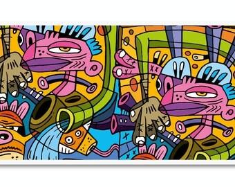 Street Art Print - Original Illustration Print Poster Abstract Colorful Modern Artwork