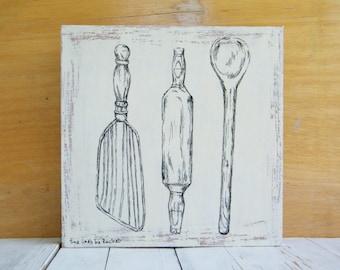 Print on wood, Antique kitchen tools, Rustic kitchen sign, Kitchen decor, Retro art, Hostess gift, Vintage style
