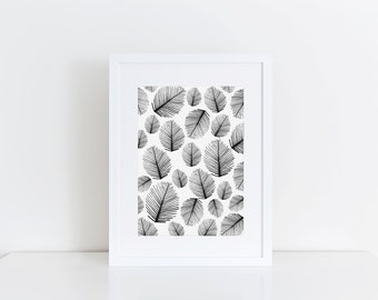 Palm Leaf- Watercolor Print, 5x7, 8x10