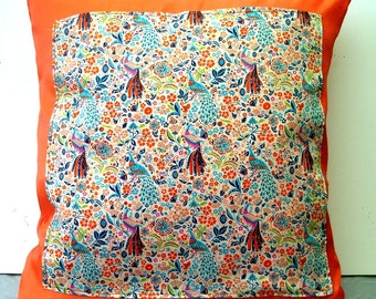 Cushion Deco satin and liberty fabric of london orange