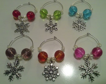 SALE! Snowflake Wine Glass Charms, Set of Six, Glass Beads, Colorful Wine Charms, Hostess Gift