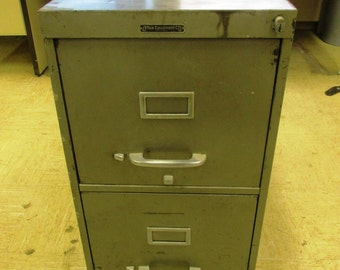 Mid Century Vintage Steel 2 Drawer Filing Cabinet