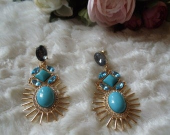 Earrings statement vintage ethnic blue/gold
