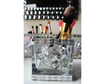 Small Make up Brush Holder Crystals, Diamonds & Pearls