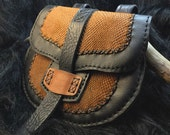 Handmade Leather Belt Pouch in black and brown