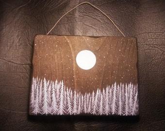 Wood Wall Art, Winter Night Wall Art, Wood Art, Wall Hanging, Winter Painting, Wood Painting