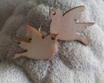 Woody Dove Birds Earrings