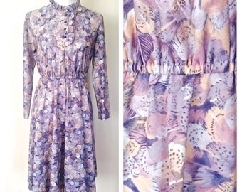 Vintage Fabulous 1970's Print Dress. Size:10