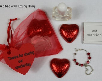 Red wedding favour bags with a selection of fillings - Valentines wedding