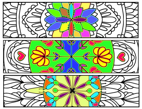 Bookmarks Coloring Printable, scaleable PDF file, Instant Download. 64v.