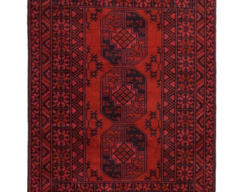 3×5 Overdyed Vintage Tribal Rug Red Turkoman  Handknotted One Of A kind 100% Wool Pile 2673