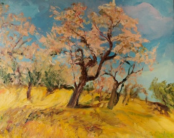 Oil landscape with tree flowering almond.