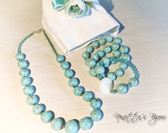 Pearl Necklace and bracelets handmade fimo blue