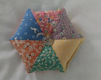 Hexagon pincushion pin cushion 1930's reproduction fabric fabrics with glass flower button