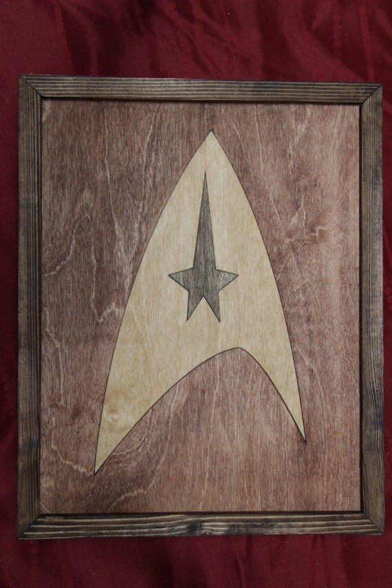 Wood Inlay Wall Decor : Star trek wooden inlay wall art