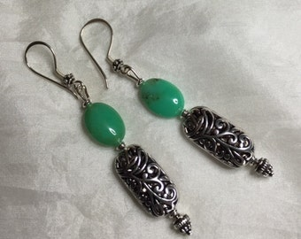 Chrysoprase and Silver Drop Earrings