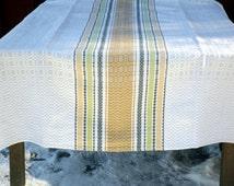 Large Woven Tablecloth, Swedish Retro Table Cloth, Striped Linen Cotton Blend, 1960s Mid Century, Rustic Scandinavian Textile Home Decor