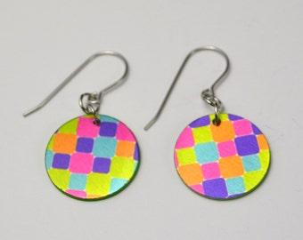 Mod Checkers, Metal Earrings, Lightweight Earrings, Handmade Sublimation Earrings, Modern Colors, Artistic Jewelry, Colorful Earrings,