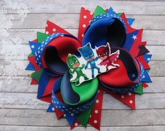 PJ Masks birthday Hair clip for Kids bows PJ Masks headbands Girls birthday party favours Gifts for sister Birthday gift for bestfriend